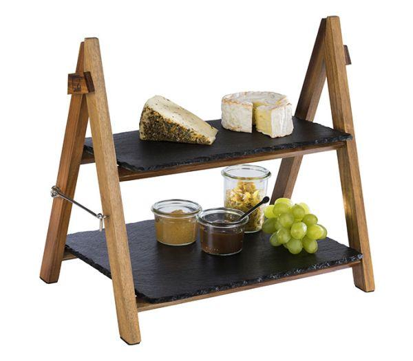 3 részes összecsukható tálaló szett 34x36,5x26,5cm fa állvány, GN1/3 és GN1/2 pala tálcákkal (AP