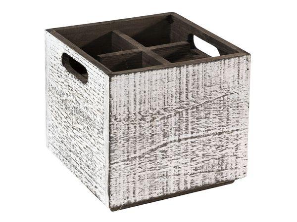 VINTAGE fa tárolódoboz eltávolítható szeparátorral, fehér, 17x17x16cm (AP11600)