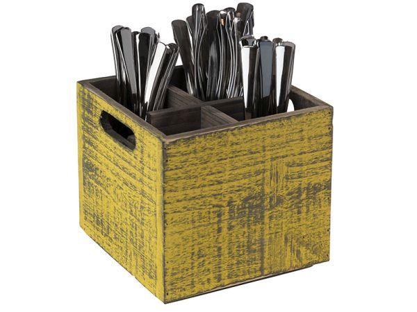 VINTAGE fa tárolódoboz eltávolítható szeparátorral, sárga, 17x17x16cm (AP11602)