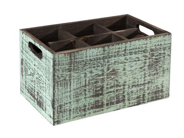VINTAGE fa tárolódoboz eltávolítható szeparátorral, kék, 27x17x16cm (AP11604)