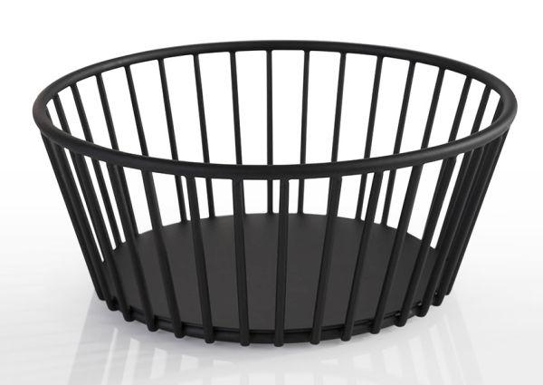 Gyümölcs / Kenyérkosár műanyag bevonatos acél, fekete,  17x7cm (AP30410)