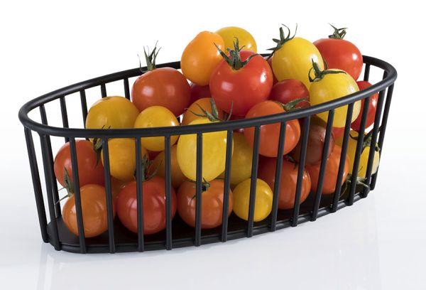 Gyümölcs / Kenyérkosár műanyag bevonatos acél, fekete,  21x10cm (AP30412)