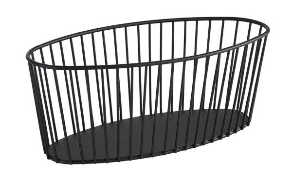 Gyümölcs / Kenyérkosár műanyag bevonatos acél, fekete,  30x14x12cm (AP30413)
