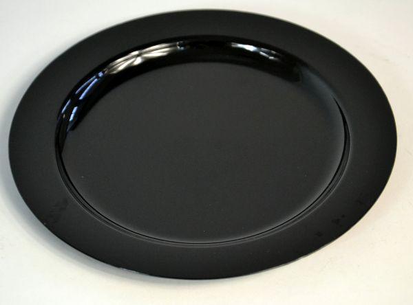 Lapostányér fekete műanyag többször használatos 23cm (AVM0535)